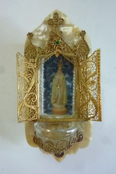 Vintage Holy Water Font Blessed Virgin Statue Encased in  Gold Metal Filigree Chapel Marbelized Celluloid 1950s by ZoomVintage on Etsy