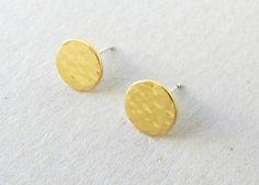 Gold Post Earringsstud  disc earrings  Hammered by OliveliJewelry, $25.00