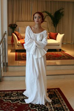 100% Cotton Embroidered White Nightgown Long Sleeve Jane Austen Full Sweep Lingerie  Sleepwear White ae3200a9e
