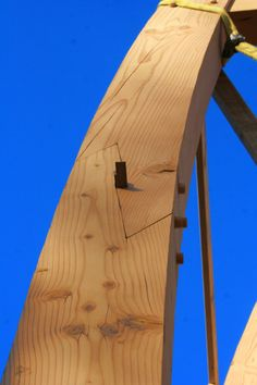 timber framing joint with wedges pushes joint tight