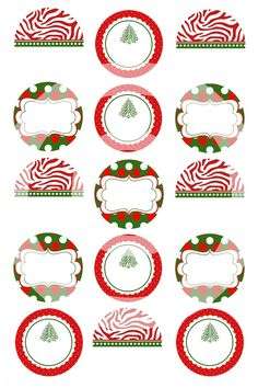 Instant Download Editable Christmas Assorted digital image collage,scrapbooking,cupcake toppers,jewelry,hair bows,pins,magnets. $2.50, via Etsy.