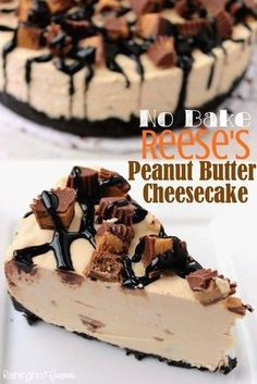 This Reeses Pie Recipe is the perfect no bake dessert. Reese's peanut butter pie recipe is delicious. Try Reese's peanut butter cup pie for an easy dessert. Reese's Peanut Butter Cheesecake, Peanut Butter No Bake, Peanut Butter Desserts, Keto Desserts, Delicious Desserts, Dessert Recipes, Yummy Food, Cheesecake Bites, Pumpkin Cheesecake
