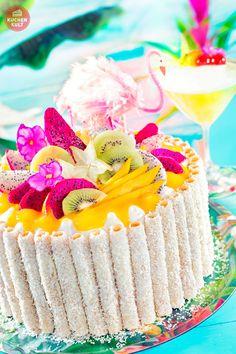 #Exotische #Kuchen, #Früchte #Torte, #Sommer #Kokos #tropical #fruit #cake #flamingo #tropicana #summer