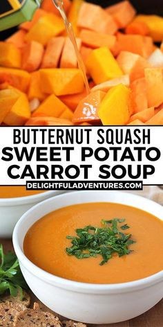 Carrot Butternut Squash Soup, Sweet Potato Carrot Soup, Butternut Squash And Sweet Potato Recipe, Vegan Squash Soup, Sweet Soup, Healthy Soup Recipes, Vegan Dinner Recipes, Dairy Free Soup, Vegan Slow Cooker