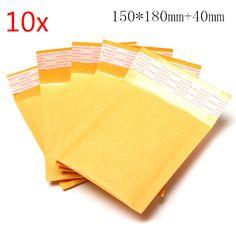 10pcs 150*180mm+40mm Bubble Envelope Yellow Color Kraft Paper Bag Mailers Envelope