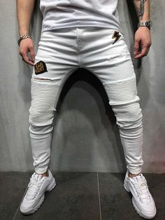 One of many in our Jeans collection! Skinny Biker Jeans, Black Ripped Jeans, White Jeans, Skinny Fit, Rare Clothing, Mens Clothing Styles, Tomboy Fashion, Mens Fashion, Street Fashion