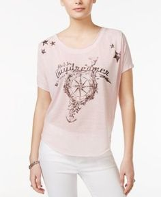 William Rast High-Low Daydreamer Graphic T-Shirt - Pink S