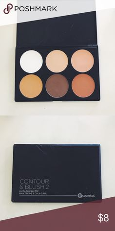 Blush/Contour Pallete BH Cosmetics Blush/Contour Palette 2 ; the packaging is deformed but I've only swatched each color once but will sanitize everything before shipping ! Also its super pretty on tan skin tones <3 MAC Cosmetics Makeup Bronzer