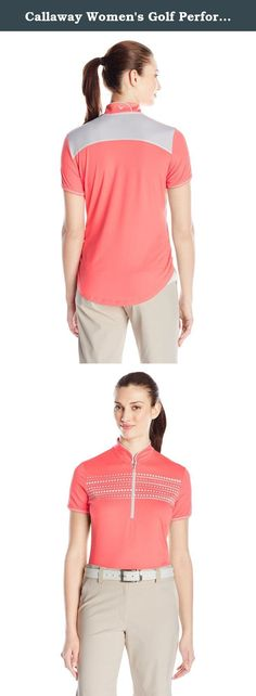 Callaway Women's Golf Performance Short Sleeve Mock Neck Top, Sugar Coral, X-Large. Add a more fashion-forward golf piece to your style arsenal with the Callaway Women's golf performance short sleeve MOCK neck with yoke stripe. A geo-inspired pattern and zippered closure adorn the front placket while ruching and mesh panels along the hem give this top a refined touch. Opti-Dri transfers moisture away from the skin, Opti-Vent creates a breathable fit, and Opti-Stretch gives you maximum…