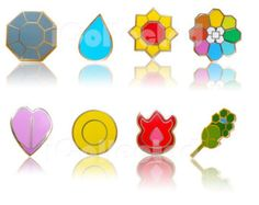 Complete set of 8 Kanto Gold-Metal Pokemon Gym Leader Badges Pins | Unique High Quality Lapel/Collectible Gift
