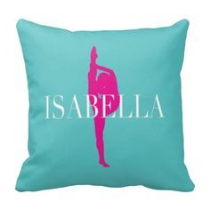 You will love this dance silhouette throw pillow, which includes your name!   You can choose any colors you want from our palette or choose the pool, hot pink and white shown.  This is a great touch for any girl or teen dancer.  Kids bedroom decor for dancers.