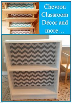 SO EASY who  knew they made Chevron Contract paper??? Awesome chevron bookcase with Contact paper quick and easy makeover #Chevron #DIY