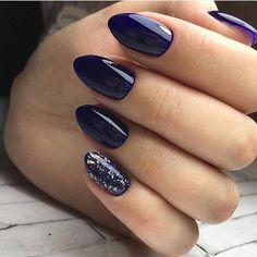 Mismatched dark blue nails