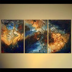 large modern decor triptych galaxy
