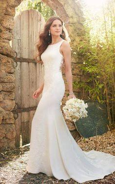 Classic Lace Applique Dress with Illusion Back. Crepe Wedding DressWedding  Dresses ... 7e25abdae23e