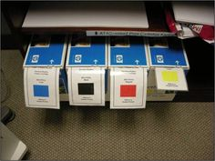 Using Lean in the Office - Auburn Works. Kanban cards for re-ordering. Visual Management, Supply Chain Management, Lean Office, The Office, Kanban Cards, Amélioration Continue, 6 Sigma, Lean Manufacturing, Lean Six Sigma