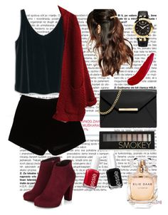 """Red and Black #2"" by jessicawednesday ❤ liked on Polyvore featuring MANGO, Andrew Gn, MICHAEL Michael Kors, Suzywan DELUXE, Versace, Essie, TheBalm, Forever 21 and Elie Saab"