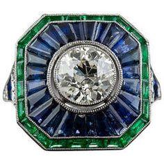 1.85 Carat Sapphire Emerald Diamond  Ring