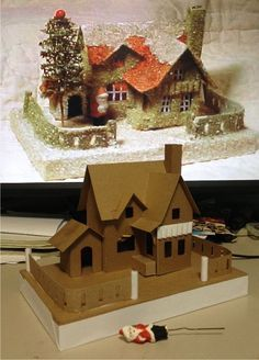 Vintage Diy Crafts Putz Houses 70 New Ideas Christmas Projects, Christmas Home, Holiday Crafts, Home Crafts, Vintage Christmas, Diy Crafts, Xmas, Christmas Mantles, Victorian Christmas