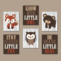 WOODLAND Nursery Wall Art, Woodland Decor, Birch Wood, Forest Animals, Carter Forest Friends, Owl Fox Bear, Canvas or Prints Set of 6 Quotes by TRMdesign on Etsy https://www.etsy.com/listing/254332271/woodland-nursery-wall-art-woodland-decor