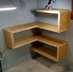 Building some DIY corner shelves might be a great idea for your next weekend project. Corner shelves are a smart solution for your small space. If you want to have shelves but you don't want to be too much on . Diy Corner Shelf, Corner Wall Shelves, Wall Shelves Design, Corner Shelf Design, Corner Rack, Corner Storage, Cat Shelves, Bookshelf Design, Garage Storage