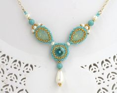 Swarovski crystal necklace, Turquoise necklace gold, Turquoise wedding jewelry, Pearl drop necklace, Turquoise gold necklace,Beaded necklace