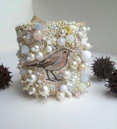 Gypsy tales XX, ooak fiber art gypsy bohemian cuff, Coachella, bead embroidery, hand stitched, romantic, statement, bird, french knot