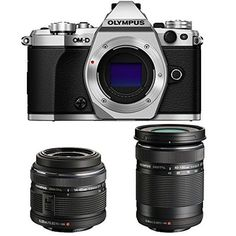 Olympus OM-D E-M5 Mark II Silver Digital Camera with 14-42mm and 40-150mm Lens Bundle