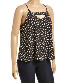 Another great find on #zulily! Black & White Cutout Zip-Back Tank - Plus by Zenobia #zulilyfinds