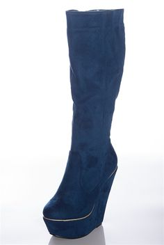 Glam Rush Faux Suede Platform Boots - Blue from Boots at Lucky 21 Lucky 21