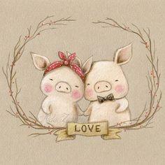 Ilustración cerditos San Valentín