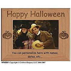 Happy Halloween Personalized Alder Wood Photo Frame