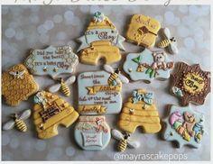 "Mayra Rodriguez on Instagram: ""Love this Sweet Collection- because babies...are sweet as honey!  #customsweets #customcookies #edibleart #mayrascakepops #mydulcedelights #sugarcookies #babyshower #bumblebee #babyboy #sweetashoney #sweetsforeveryoccassion"""