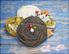 Flower Hair Piece Mustard Brown White Headband by CrowningPetals, $15.50