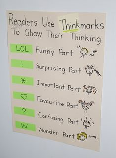 A chart called Thinkmarks that can be posted at the front of the class room and copied into an Interactive Notebooks. I'm thinking these Thinkmarks could help encourage the Close Reading skills that Common Core seems to think is new. Reading Lessons, Reading Skills, Teaching Reading, Guided Reading, Reading Post, Reading Notes, Reading Groups, Reading Resources, Reading Comprehension Strategies