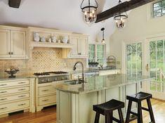 island a different color? Updated Kitchen, New Kitchen, Kitchen Decor, Kitchen Ideas, Kitchen Must Haves, Best Kitchen Designs, Kitchen Curtains, Cool Kitchens, Dream Kitchens