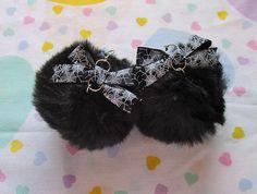 Pom pom earrings black faux fur black spiderweb bow 90s