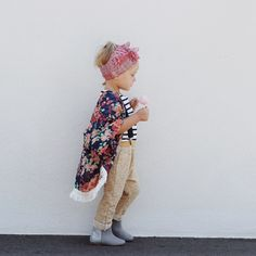 oh so boho coolest baby girl outfit ever! love the stripes and floral