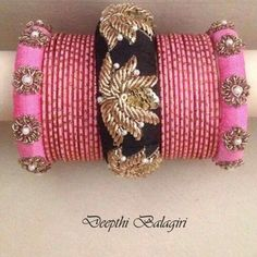 Rawsilk bangles Silk Thread Bangles, Thread Jewellery, Jewellery Designs, Handmade Jewellery, Bead Embroidery Jewelry, Fabric Jewelry, Beaded Embroidery, Beaded Jewelry, Thread Bangles Design