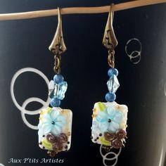 """boucles d'oreilles, perle au chalumeau """"Botanique 4"""" de la boutique AuxPetitsArtistes2 sur Etsy"""