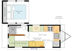 18 ft. trailer with 2 ft. loft extensions. Large seating area which folds out into guest bed & built in bookshelves.Standard kitchen with 2 person dining booth. Standard 3 piece bathroom.