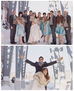 I like the scarfs on the groomsmen and the blue dresses.