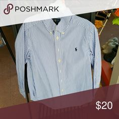 Ralph  Lauren button  down shirt Button  down shirt  Light Blue  pinstripe Ralph Lauren Shirts & Tops Button Down Shirts