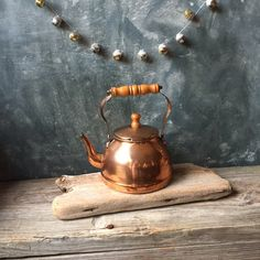 Vintage Copper Tea Kettle: Rustic Copper Tea Pot with Wooden Handle, Cottage Chic, Farmhouse Decor, French Country Home, Watering Can by Untried on Etsy