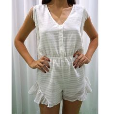 Tularosa Romper Soft and sexy this Tularosa white romper is to die for. Perfect for brides-to-be, or even just pair with cute sandals for fun day off! -Model wearing size extra small -Fits true to size -Handwash Tularosa Pants Jumpsuits & Rompers