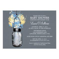 Rustic  Mason Jar Wildflowers Baby Shower Custom Announcements