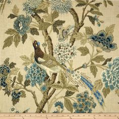 Richloom Whipporwill Blue Haven from @fabricdotcom  Screen-printed on a linen/rayon blend fabric, this versatile medium/heavy weight fabric is perfect for window treatments (draperies, valances, curtains and swags), toss pillows, duvet covers, pillow shams, slipcovers and upholstery. Colors include navy blue, teal, brown and shades of sage green on a pale green background.
