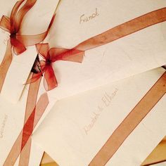 Simple ribbon decoration for the envelopes we will give in person.