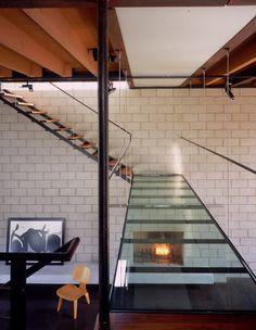 A glas bridge in Steven Ehrlich's home, 700 Palms, in Venice, California