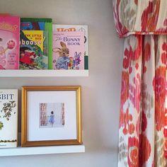 Cute shelfie featuring our frame. Love the way it looks in our fancy gold frame! Bunny Book, Picture Frame Art, Shelfie, Little Monsters, Custom Framing, Framed Art, Nursery, Fancy, Girls
